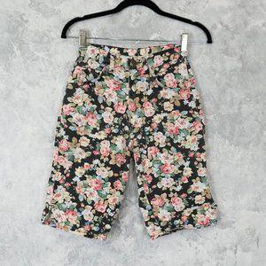 Vintage 1980's Floral Jean Shorts
